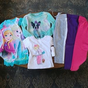 Bundle/Lot of girls pj, tops, and bottoms size 4/5